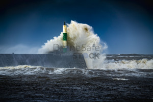 Waves battering the lighthouse