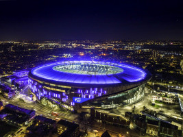 White Hart Lane Stadium, Tottenham drone shot at night