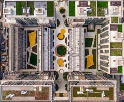 Aerial views of Upton Gardens, Upton Park Stadium. Former home of West Ham United FC