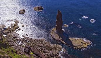 Am Buachaille sea stack Sandwood Bay Scotland