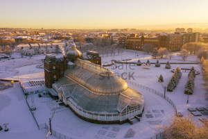 Glasgow Green in the snow at sunrise - Peoples Palace and Templeton Building