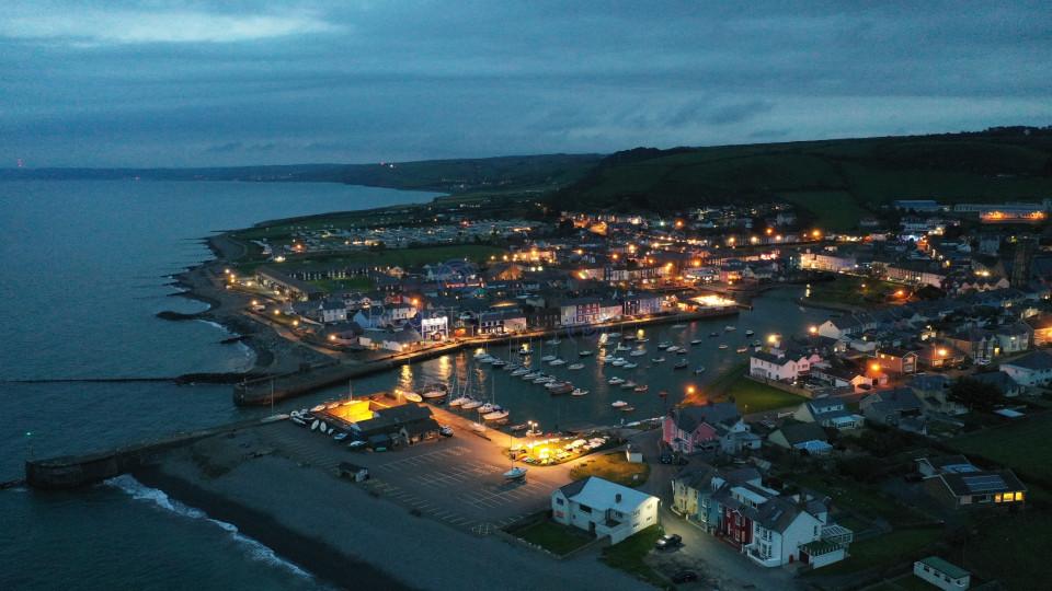 Aberaeron Harbour by Night