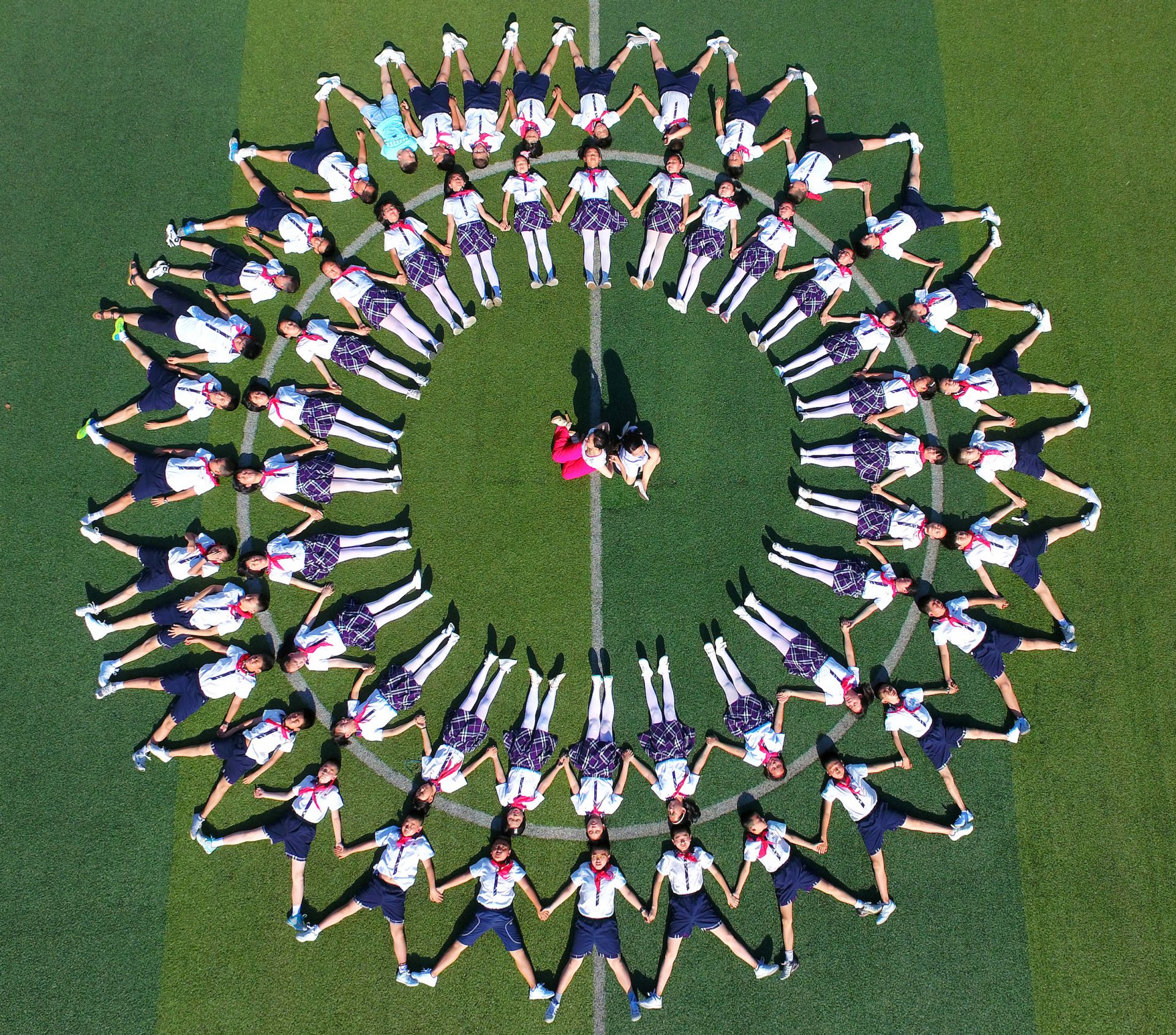 School Aerial Group Photo