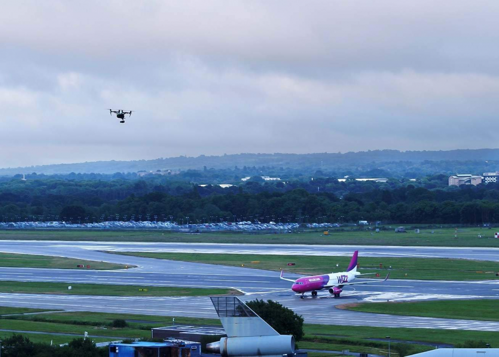 Drone flying at Gatwick Airport