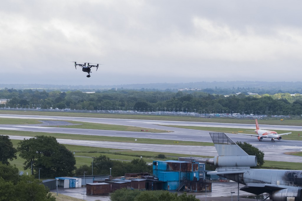 DSR Flies drone adjacent to Gatwick Airport